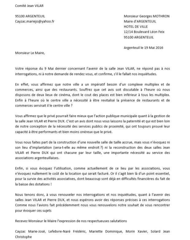 lettre 3 comite Jean Vilar a Mothron mai 2016