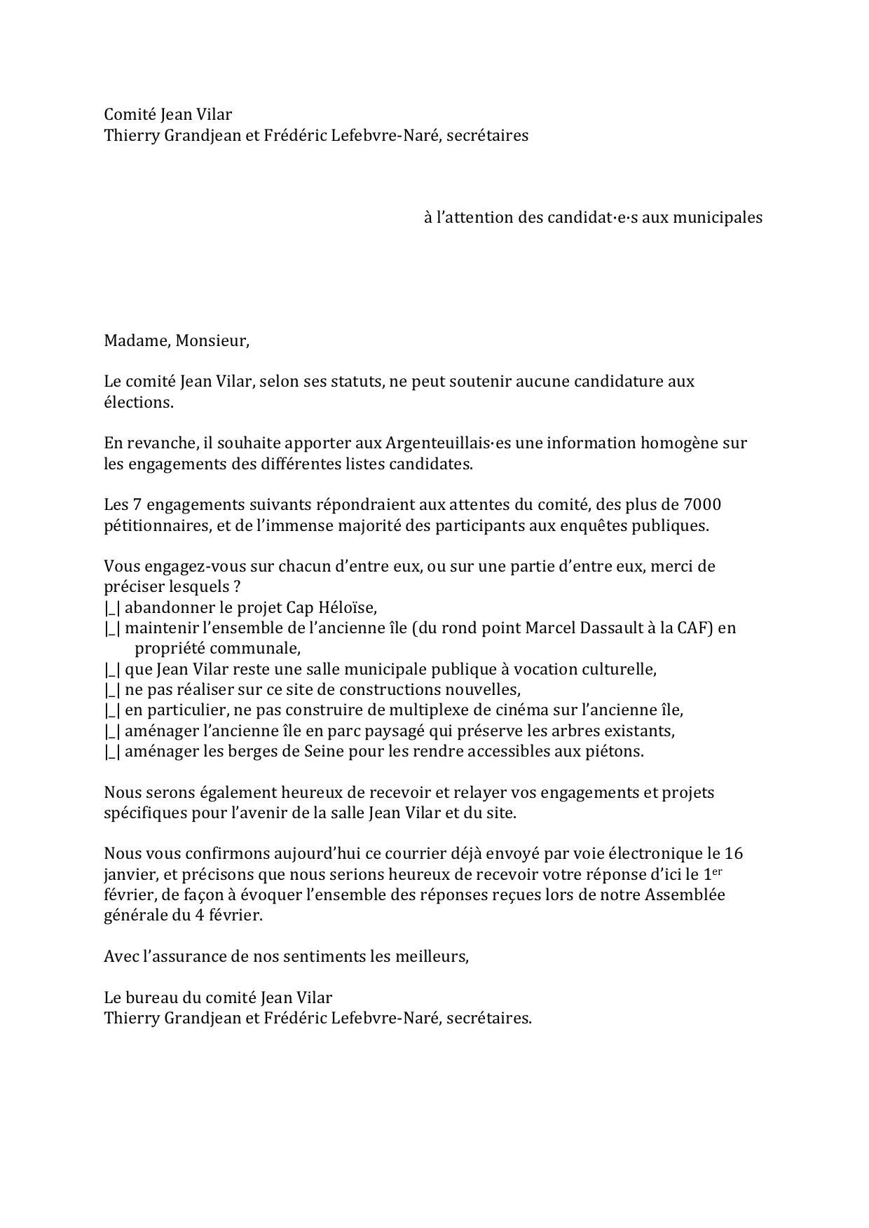courrier candidats Jean Vilar